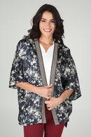 Gebloemde kimono met ribboord, Marineblauw