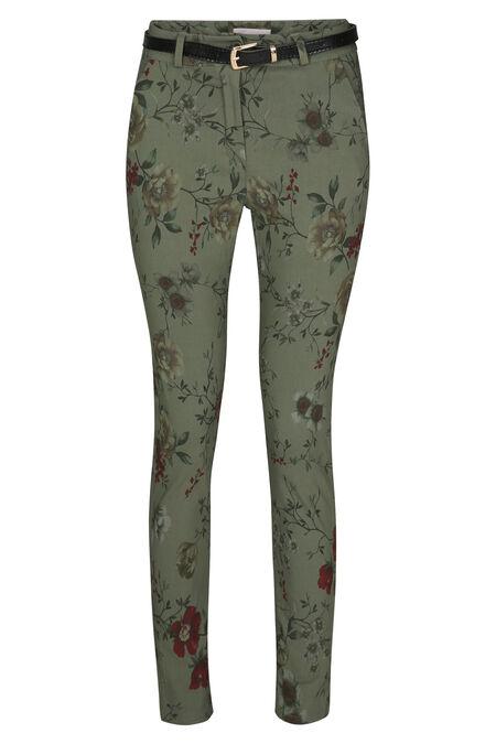 Pantalon chino fleuri - Kaki