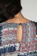 Jurk in viscose/zijde met patchprint, Blauw