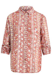 Cassis-Soepele blouse met bloemenprint