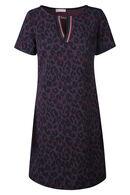 Jurk met luipaardprint en sportswearboorden, Marineblauw