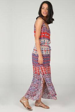 Lange jurk met etnische print, Multicolor