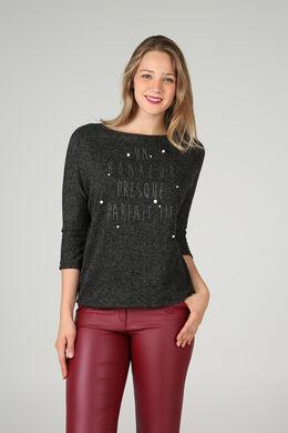 Sweater met letters in lovertjes & kralen, Antraciet