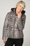 Doudoune imprimé léopard, Marron