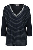 T-shirt met lurexstrepen, Marineblauw