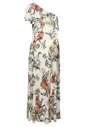 Lange, asymmetrische jurk met tropische print