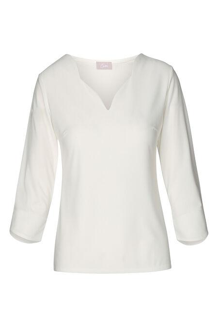 T-shirt met een gefestonneerde kraag - Ecru