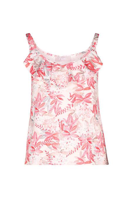 T-shirt fines bretelles imprimé fleuri - Corail