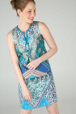 Robe imprimé fleuri avec pompons et perles By Derhy, Turquoise