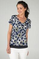 T-shirt bedrukt met cirkels, Marineblauw