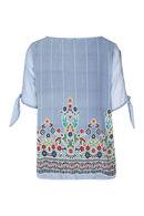 Blouse en voile encolure avec zip, multicolor