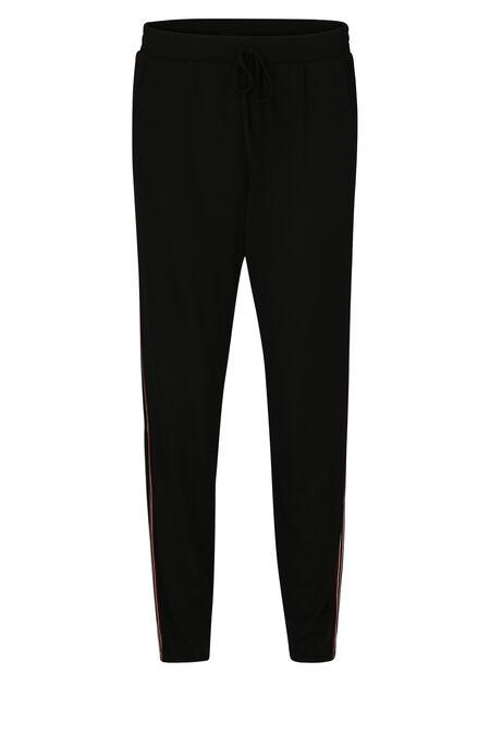 Soepele broek met sportieve stroken - Zwart