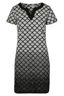 Jurk in tricot met geometrische print, Zwart/Ecru