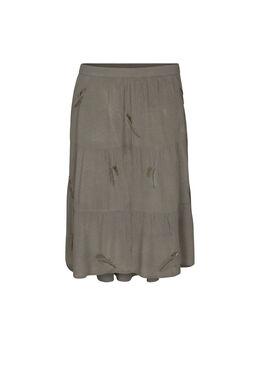 Halflange rok met geborduurde pluimen, Kaki