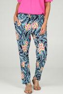 Pantalon fluide imprimé tropical, Marine
