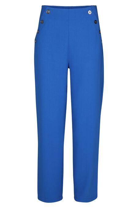 Brede broek met knoopdetails - Koningsblauw