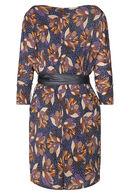 Rechte jurk met lotusbloemen, Marineblauw