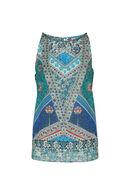 Bedrukte mouwloze bloes By Derhy, Turquoise