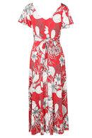 Lange jurk bedrukt met bloemen en bladeren, Rood