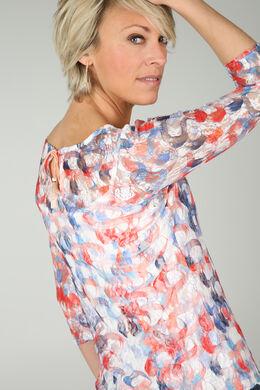 T-shirt avec dentelle imprimé de ronds colorés, Corail