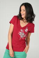 Katoenen T-shirt met borduurwerk, Framboos