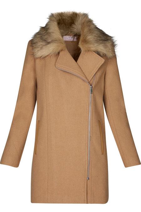 Lange mantel met rits opzij - Beige