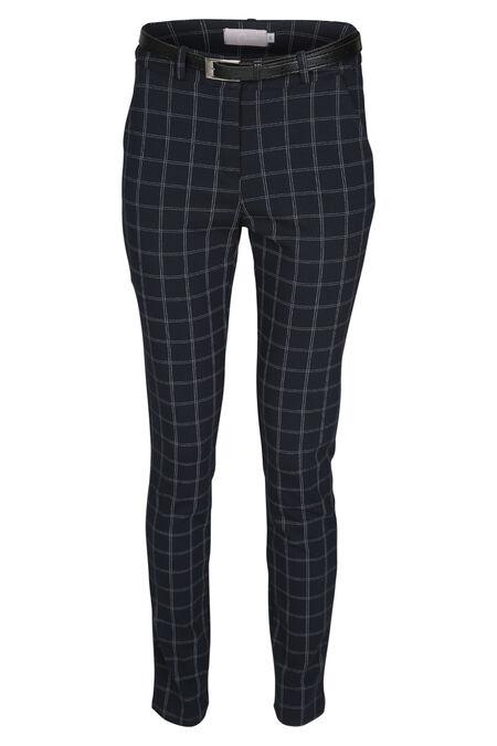 Pantalon en maille imprimé carreaux - Marine