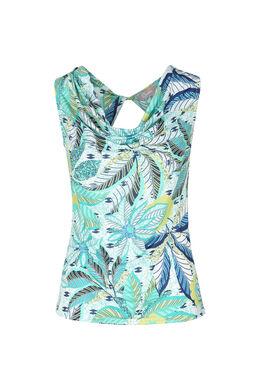 T-shirt met watervalkraag, Groen