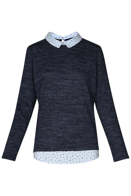 Trui/blouse 2-in-1 met sterretjes - Indigo