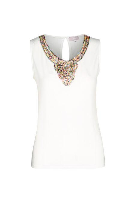 T-shirt plastron de perles - Ecru