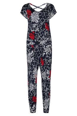 Jumpsuit in tricot met gomprint van bloemen, Marineblauw