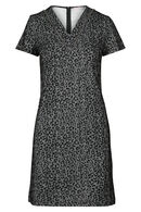 Robe jacquard imprimé léopard et à carreaux, Noir