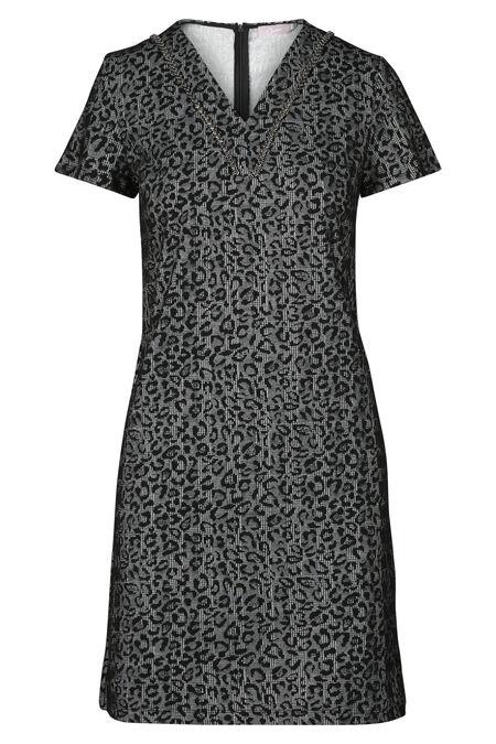 Jacquardjurk met luipaardprint en ruitjes - Zwart