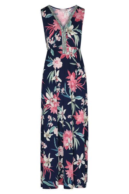 Lange jurk met een V-hals van steentjes - Roze