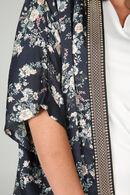 Kimono fleuri bord côte brillant, Marine