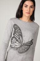 Pull jacquard papillon, Gris