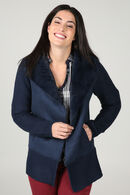 Blousoncardigan in tricot en suèdine, Marineblauw