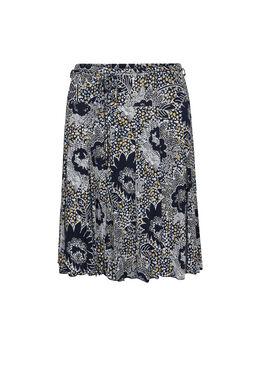 Rok in tricot met een geometrische print en bloemetjes, Marineblauw
