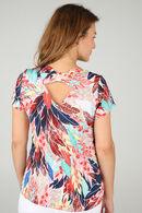 T-shirt maille froide imprimé plumes, multicolor