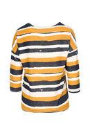 T-shirt en maille chaude rayé avec fils lurex, Ocre
