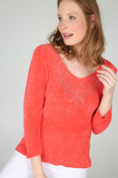 Pull encolure avec strass, Corail