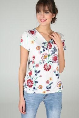 T-shirt met bloemenprint en gom, Ecru