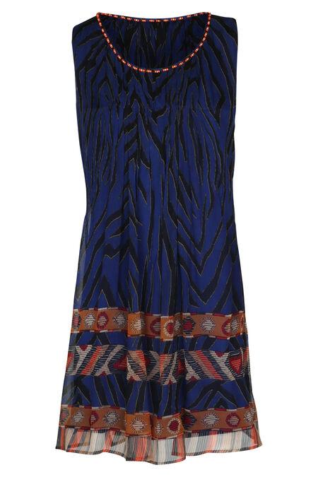 Robe fluide imprimé ethnique By Derhy - Bleu