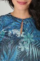 T-shirt met jungleprint en druppelopening, Marineblauw