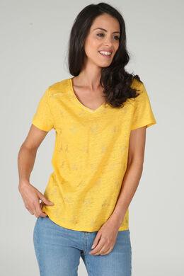 T-shirt met pluimendessin, Oker