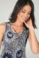 Jurk in tricot met gekruiste juweelkraag, Marineblauw