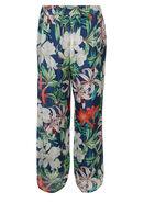 Pantalon large imprimé fleurs tropicales, Marine