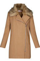 Manteau long zip côté, Beige
