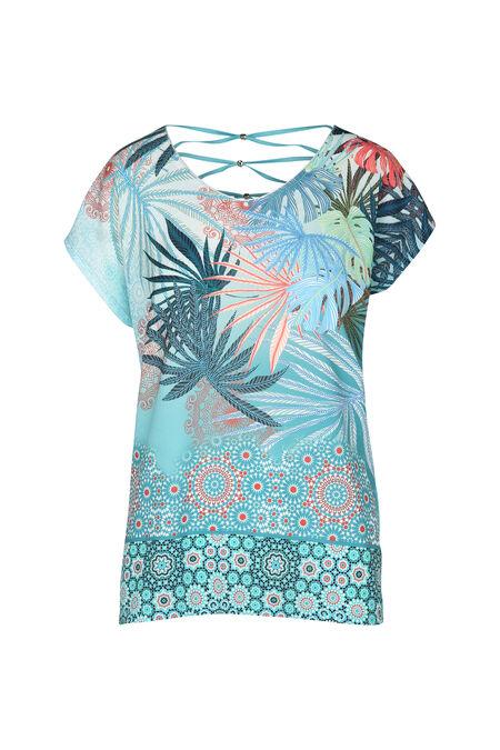 T-shirt in twee stoffen met bladprint - Appelblauwzeegroen