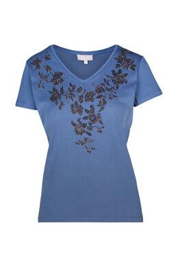 T-shirt met zeefdruk van bloemen, Denim